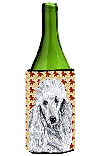 White Standard Poodle Fall Leaves Wine Bottle Beverage Insulator Hugger (White Standard Poodle)