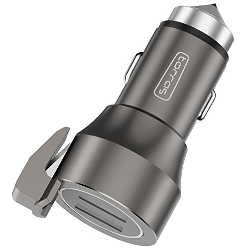 Quick Car Charger, TORRAS 24W/4.8A Dual USB Fast car charger with Qualcomm Quick Charge Technology for iPhone X / 8 / 7 / 6s,Samsung Galaxy S7,S6,S6 Edge,Note 5 4 3 and more - Gray