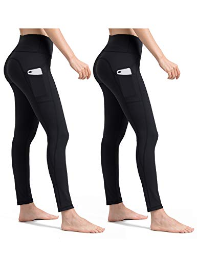 (ALONG FIT Yoga Pants for Women with Cell Phone Pockets Side/Inner Compression Workout Leggings Tummy Control Yoga Leggings Capris)
