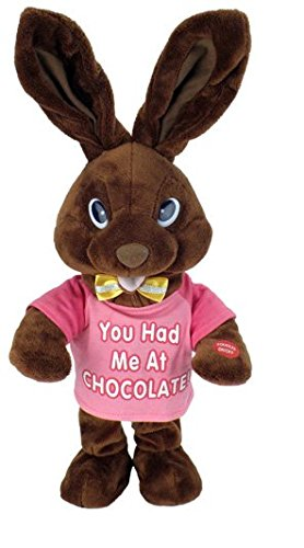 Chantilly Lane G3107/1 14 in. Chocolate Bunny Green T-shirt sings, I Feel - Chocolate Chantilly