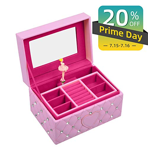- Lamir Musical Jewelry Box for Girls Ballerina Music Box Kids Jewelry Boxes Pink Glittery Musical Storage Box with Drawer for Little Girl's Gifts