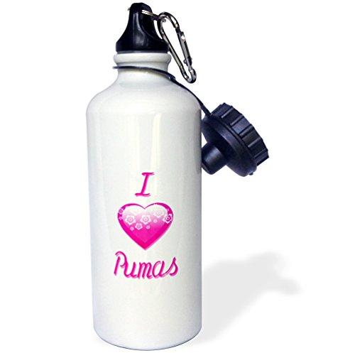 3dRose wb_121739_1 Pretty Pink Flowery I Love Pumas Sports Water Bottle, 21 oz, White