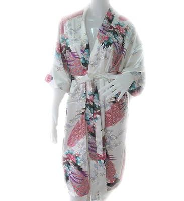 Women's White Kimono Silk Satin Bath Wrap Robe Peacock Design By Thai Vintage