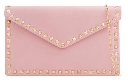 Handbags Clutch Girly Pink Studded Bag Plain OwaUzaqS