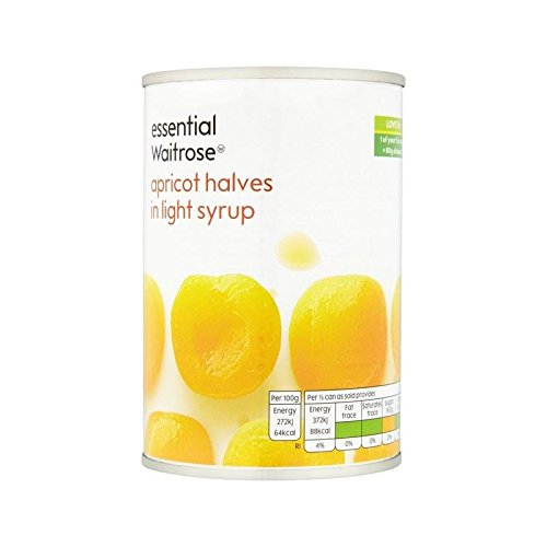 Apricot Halves in Light Syrup essential Waitrose 410g - Pack of 2