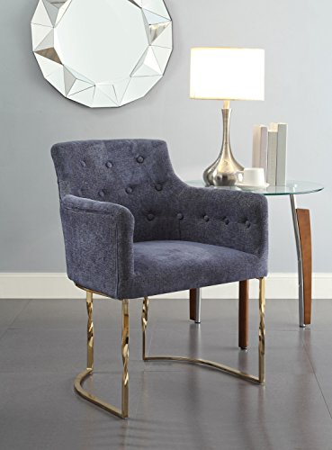 Amalfi Dining Chair - Chic Home Amalfi Accent Chair Button Tufted Linen Upholstered Polished Brass Solid Metal Frame, Modern Contemporary, Blue