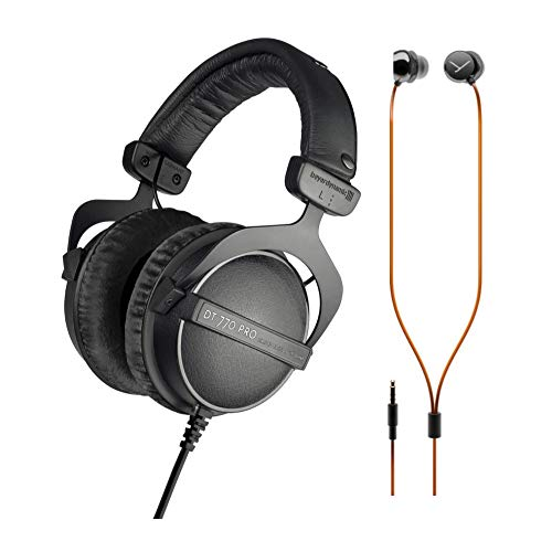 beyerdynamic DT 770 PRO 16-Ohm Over-Ear Headphones (Ninja Black, Limited Edition) with Beat BYRD Wired Earbuds Bundle (2 Items)