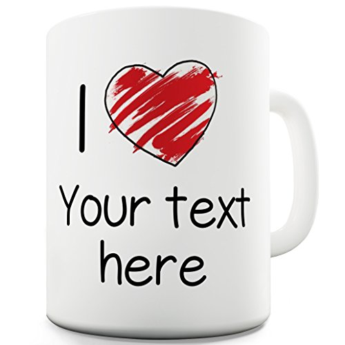 - Twisted Envy Heart Sketch Scribble I Love Personalised Ceramic Novelty Mug 15 OZ