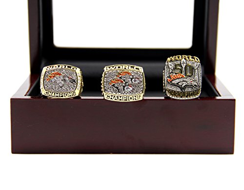 Broncos Display Cases (1997 1998 2015 Denve' Broncos Championship Rings with Display Case Set)