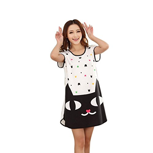 ETopLike® Women's Sleep Dress Long Length Nightshirt Mixed One Size (Black Cat)