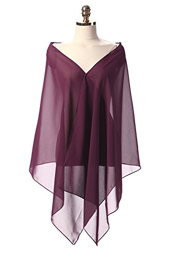- Sunnygirls Chiffon Shawl for Dresses in Different Colors To Each Wedding Dress (Plum)
