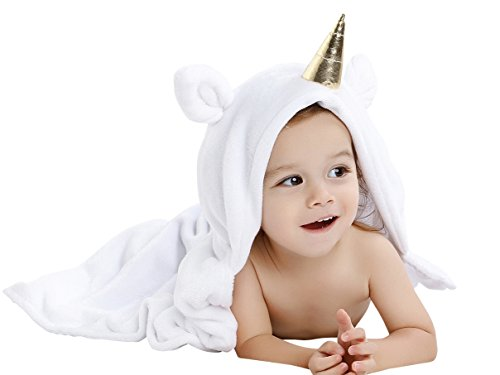 Babyplix White Unicorn Animal Hooded Baby Towel Extra Soft Cotton Baby Shower Gift for Toodle Infants Girls and Boys