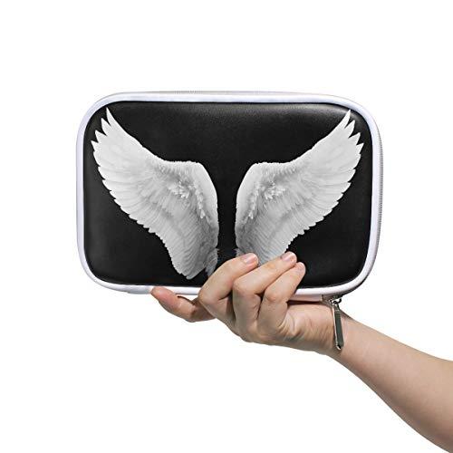 (Women's Travel Cosmetic Bag White Angel Wing Art Pencil Case Stationery Bag Makeup Brush Bag Passport Bag Hand Bag for Travel School)