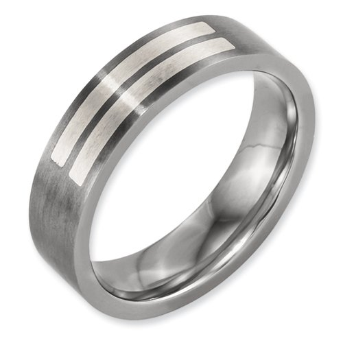 Box Titanium Flat 6mm Sterling Silver Inlay Brushed Band