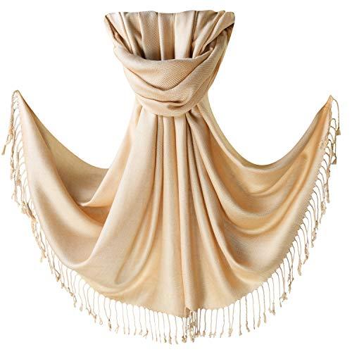 Women's Pashmina Blanket Scarf Shawl Wrap Cashmere Feel Scarves Bridal Christmas Gift (One Size, Z-Khaki) (Khaki Clothing Accessories : Womens)