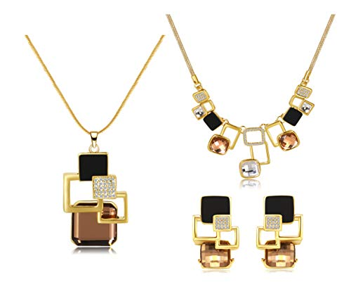 14K Gold Plated Magic Geometric Pendant Long Necklace Statement Necklace Pierced Earrings Jewelry Set