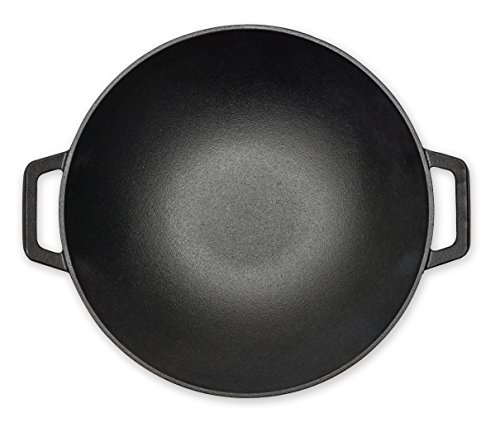 +Iron Seasoned Wok Cast Iron 14 inch with Handles and flat bottom by +Steel (Image #2)