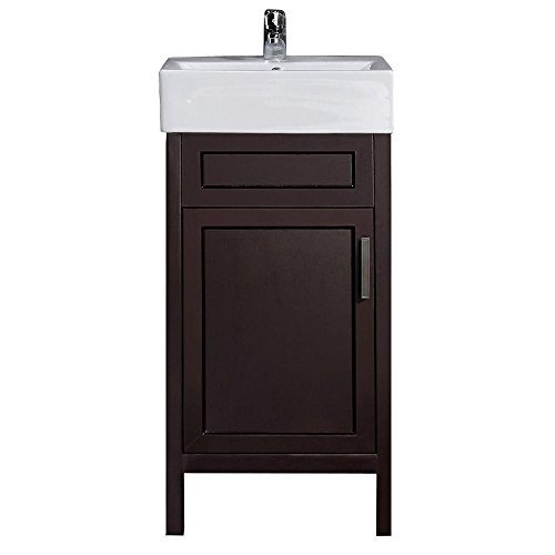 Arvesen 18 in. W x 12 in. D Vanity in Tobacco with Vitreous China Vanity Top in White and Basin (White Top Vanity China)