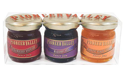 - Pioneer Valley Gourmet Mini Jam Sampler Variety 3 Pack 1.5oz Each Marionberry, Harvest Peach Cobbler, Strawberry Rhubarb