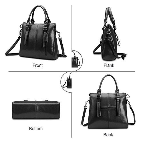 Fashion Ladies Women Handle ZZSY Oil A Bag Shoulder Bag Handbags Leather black Designer Top Tote Wax for RqffwxBd6