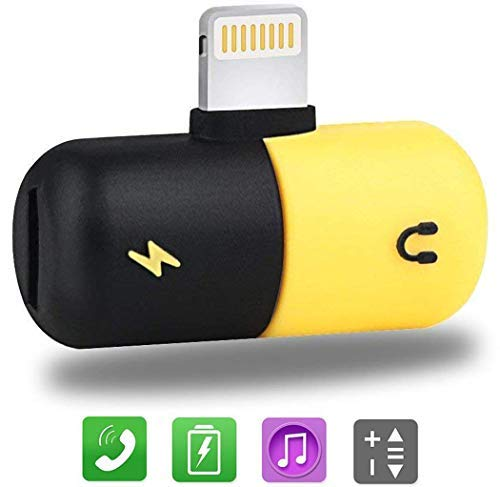 LABOL Dual Headphone Adapter Compatible with Apple iPhone 11 Pro Max/11 Pro/11/Xs Max/Xs/Xr/8/8 Plus/7/7 Plus - 2 in 1 Charge and Listen to Music at The Same Time - Yellow/Black
