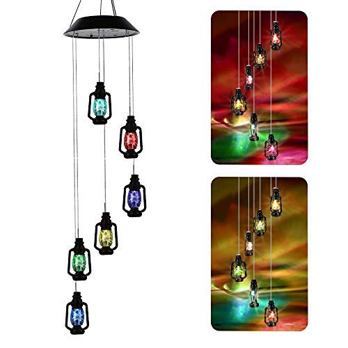 AceList Color-Changing Solar Powered Lanterns Wind Chime Wind Moblie LED Light, Gzero Spiral Spinner Windchime Portable Outdoor Chime for Patio, Deck, Yard, Garden, Home,]()