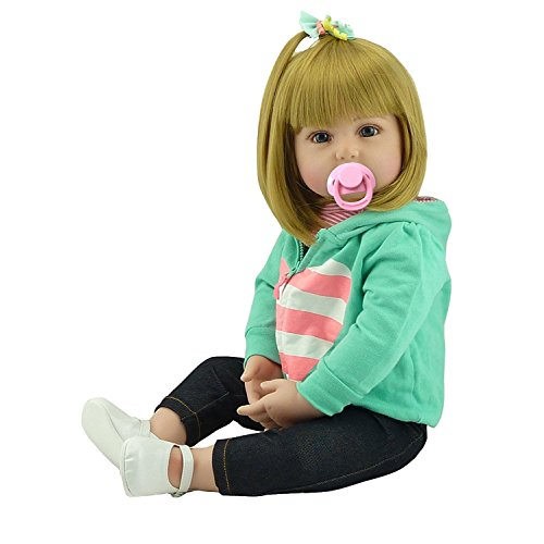 Life Like Christmas Baby Doll - NPK Lovely Reborn Baby Girl Doll Golden Hair 22 Inch 55cm Soft Silicone Realistic Looking Newborn Vinyl Dolls Handmade Toddler Toy for Kid Xmas Gift