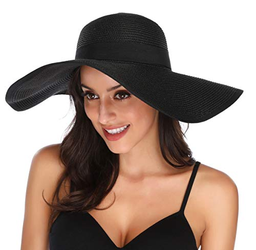 Lanzom Womens Wide Brim Straw Hat Floppy Foldable Roll up Cap Beach Sun Hat UPF 50+ (Style C-Black)