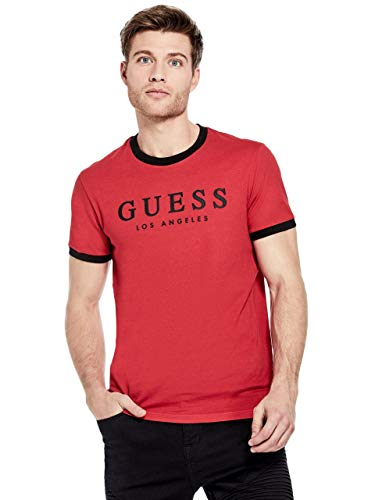 GUESS Factory Men's Kirk Striped- Trim Logo Short Sleeve for sale  Delivered anywhere in USA
