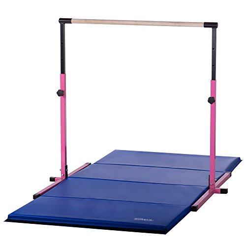 Nimble Sports Pink Adjustable Horizontal Kip Bar and 8ft Gymnastics Mat Combo