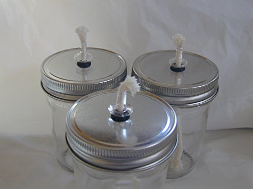 Mason/Kerr/Ball Canning Jar Oil Lamp or Burner Converter - Silver Triple Pack by Simply Homemade