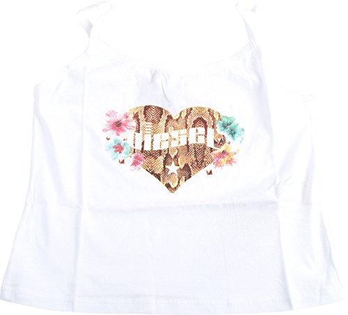(Diesel Girls' Tylar Tank W Floral Heart, White, 12 Years)