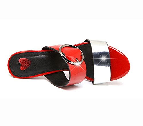 Platform Beach Women Summer Slippers MAC 2 Toe Peep Bling for U Glamorous Heeled Red Leather Sandals vpRqS7