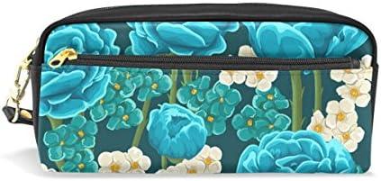 isaoa estuche bolsa de viaje para maquillaje, flor azul, gran capacidad luz portátil bolsa regalo para los niños niña mujer: Amazon.es: Oficina y papelería