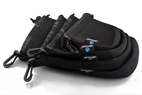 Lightdow 4pcs Pack Lens Pouch 5mm Thick Soft Neoprene DSLR Lens Bag ()
