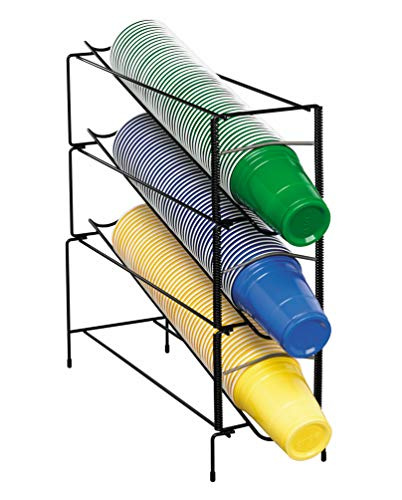 Dispense-Rite WR-CT-3 Three Section Vertical Wire Rack Cup Dispenser