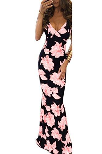 Zamtapary Las Mujeres Vestido Largo Sin Mangas De Cuello En V Vestido Estampado Floral Maxi Fiesta Beach Pink