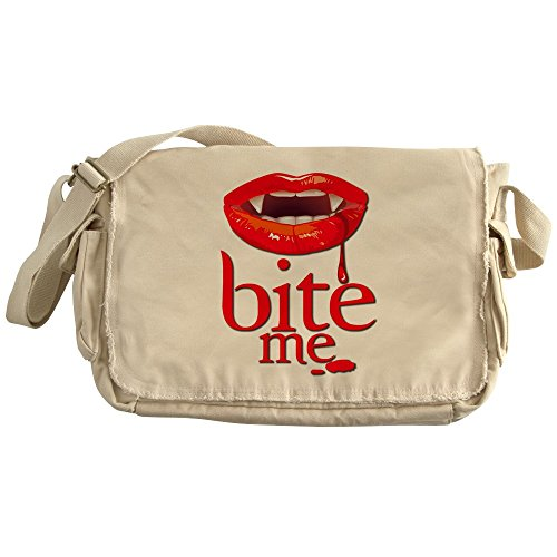 Royal Lion Khaki Messenger Bag Vampire Fangs Bite Me