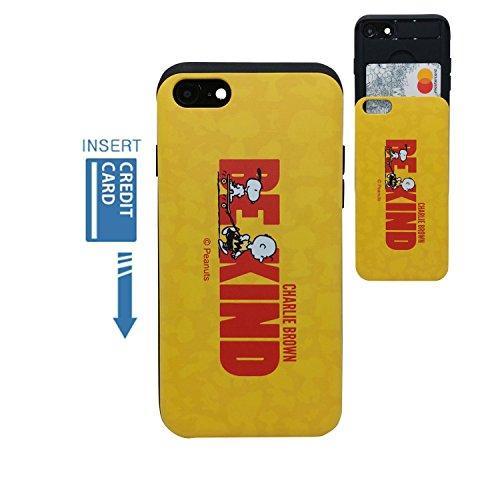 ([iPhone 7 Wallet Case/iPhone 8 Wallet Case] Kubrick PEANUTS Snoopy Charlie Brown Slide Bumper Phone Case Dual Layer Card Wallet Holder (Charlie Brown BE KIND))