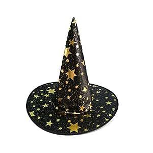 Masquerade Cosplay Props Five Stars Patttern Wizard Hat Halloween Costume Party Dress Décor-Black