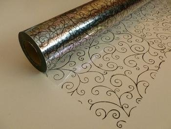 20m x 80cm Roll Black Scroll Cellophane Wrap. Florist Quality Bouquet / Gift ... by Scroll Cellophane Wrap