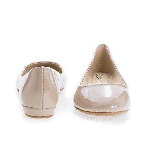 Ronde Neus Extra Zachte Binnenzool Slip Op Comfort Ballerina Flats Dk Beige Pat