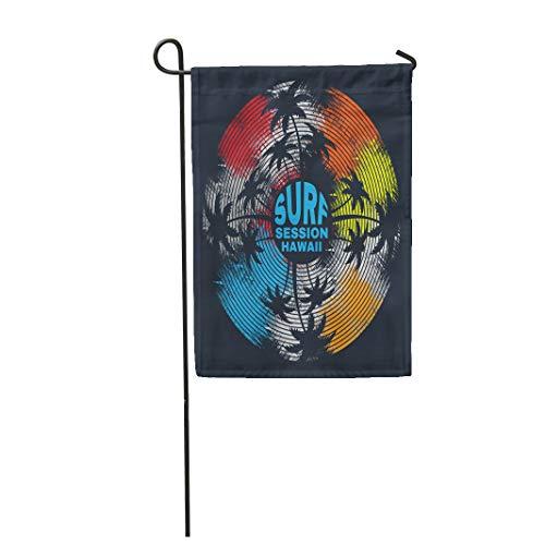 Semtomn Garden Flag Surf and Surfing in Hawaii Stylization Vinyl Record 12
