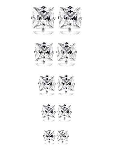 Huanian Jewelry Women's Stainless Steel Square Clear Cubic Zirconia Stud Earring (5 Pairs) Silver