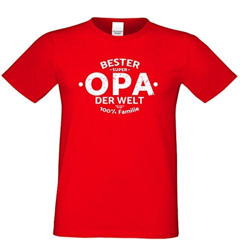 Herren Opa T-Shirt Geschenk Set mit Gratis Urkunde zum Opatag in Größen bis 5XL und Print Aufdruck Bester Opa der Welt Farbe: rot Gr: L