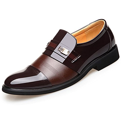Blivener Men's Dress Shoes Patent Leather Tuxedo Slip on Oxfords Brown-New 10.5