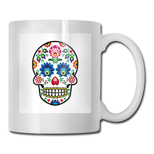 Sugar Ounce Souffle 16 - Funny Ceramic Novelty Coffee Mug 11oz,Polish Folkloric Art Style Mexican Sugar Skull Design Ethnic Carnival Theme,Unisex Who Tea Mugs Coffee Cups,Suitable for Office and Home