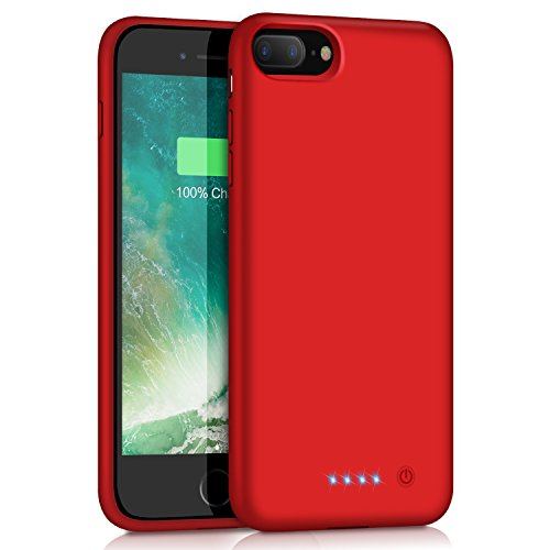 Yacikos Battery Case for iPhone 8 Plus/7 Plus, 8500mAh Portable Charging Case Rechargeable Extended Battery Pack for iPhone 8 Plus/7 Plus (5.5) Protective Backup Power Bank Cover (Red)