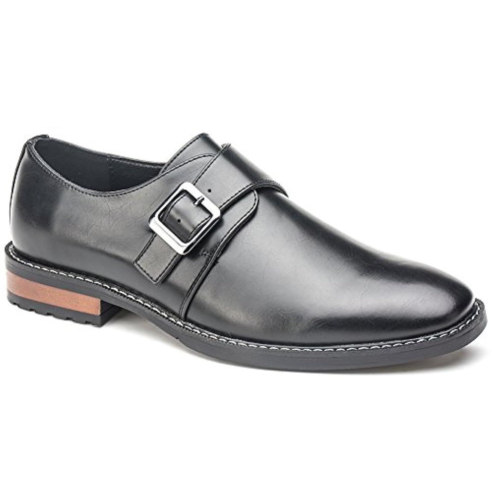 US,Black Mens Dress Shoes Monk Strap Buckle Loafers Slip on Oxford Shoes 10.5 D,M