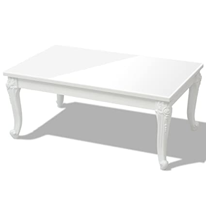 VidaXL High Gloss Coffee Side End Table Living Room Furniture White  Rectangular